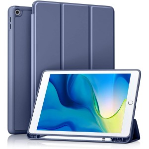 Apple iPad 10.2 7.Nesil Kılıf A2197 A2200 A2198 Premium Smart Cover Uyku Modlu + Kalem Yuvası