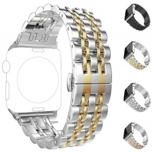 Apple Watch 2 3 4 5 38 mm 40 mm Çift Renkli Çelik Metal Klasik Kordon Kayış ST14