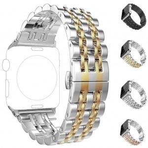 Apple Watch 2 3 4 5 42 mm 44 mm Çift Renkli Çelik Metal Klasik Kordon Kayış ST14
