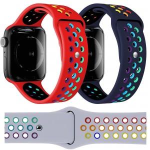 Apple Watch Kordon 2 3 4 5 6 SE 42 44 mm Kordon Renkli Delikli Spor Silikon Kordon Kayış
