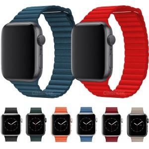 Apple Watch Kordon 2 3 4 5 6 SE 38mm 40mm Magnet Deri Loop Kordon