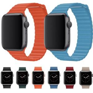 Apple Watch Kordon 2 3 4 5 6 SE 42mm 44mm Magnet Deri Loop Kordon