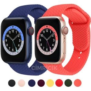 Apple Watch Kordon 42mm 44mm 6 SE 5 4 3 2 Seri Örgü Desenli Yumuşak Silikon Kayış