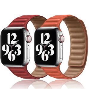 Apple Watch Kordon Baklalı Deri Magnet Kayış 42 mm 44 mm SE-6-5-4-3-2-1 Seri Uyumlu