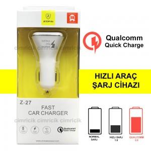 Araç Hızlı Şarj Cihazı Zore Z27 Qualcomm Çakmak Şarj Aleti 2 USB