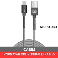 Casım AC-30 Hızlı Şarj Data Kablosu Kopmayan Çelik - Micro USB