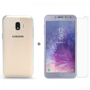 Samsung Galaxy J4 Silikon Kılıf + Temperli Cam