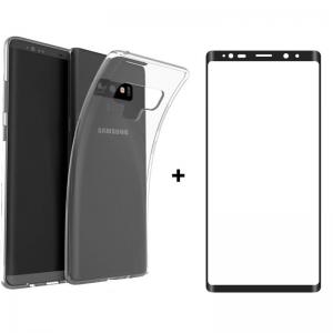 For Samsung Note 9 Kılıf Şeffaf-Ekran Koruyucu 3D Cam Kavisli