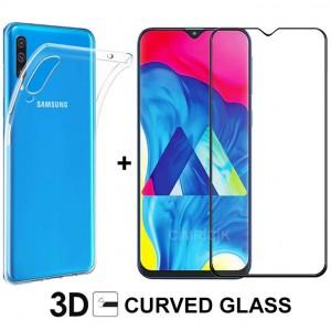 Samsung Galaxy A50 Kılıf + 3D Tam Kaplayan Kavisli Temperli Cam