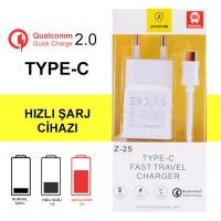 Hızlı Şarj Cihazı Android Z25 Qualcomm + Type C Şarj Kablosu