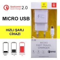 Hızlı Şarj Cihazı Android Z36 Qualcomm + Micro Usb Kablo