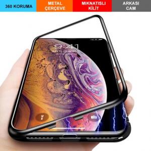 iPhone XR Kılıf 6.1 Mıknatıslı Magnet 360 Derece Tam Koruma + Cam