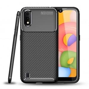 Samsung Galaxy A01 Kılıf Kamera Korumalı Esnek Karbon Tasarım Silikon