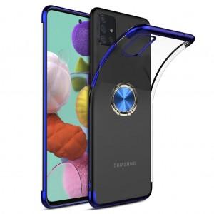 Samsung Galaxy A51 Kılıf Şeffaf Kenarları Renkli Yüzük Standlı