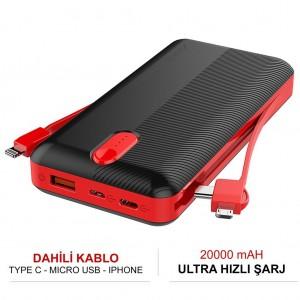 Zore ZR-2014 Powerbank 20000 mAh Dahili Kablo Type-C Micro iPhone